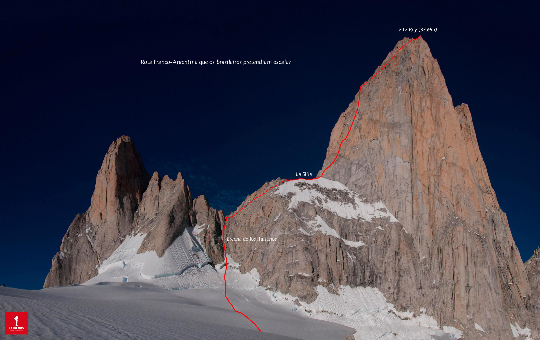 5c1e0e61c Rota Franco-Argentina que os brasileiros Leandro Iannotta e Fabrício Amaral  pretendiam escalar. Arte  Elias Luiz